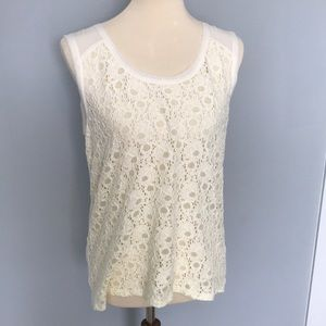 White lace tank blouse, raw hem, Ellen Tracy